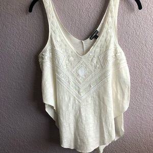 White sequin flowy high side tank